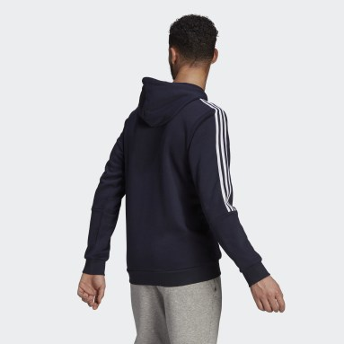 Men Sport Inspired Blue Essentials Fleece Cut 3-Stripes Hoodie
