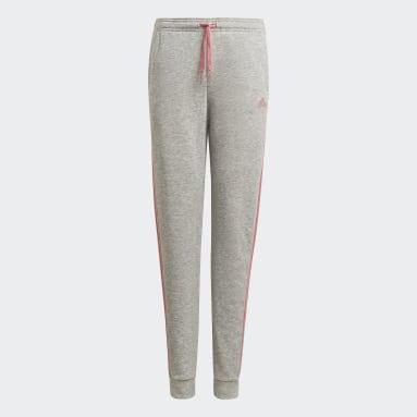 Mädchen Sportswear adidas Essentials 3-Streifen French Terry Hose Grau