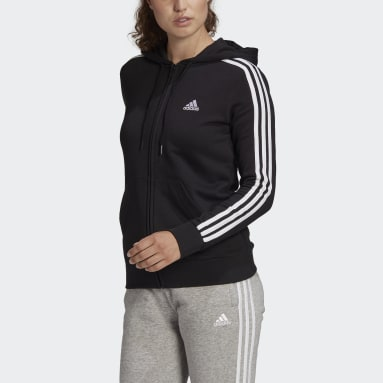 Essentials French Terry 3-Stripes Full-Zip Hoodie Czerń