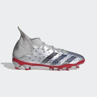 Kinder Fußball Predator Freak.3 MG Fußballschuh Silber