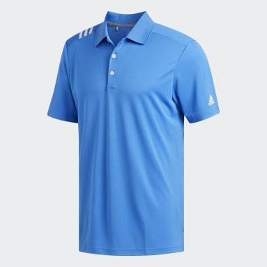 Men Golf Blue 3-Stripes Polo Shirt