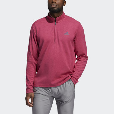 Men Golf Pink 3-Stripes Quarter-Zip Sweatshirt