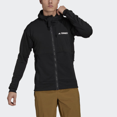 Men TERREX Black Terrex Tech Flooce Hooded Hiking Fleece Jacket