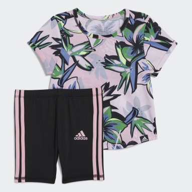 Infant & Toddler Training Pink Floral Tee and Bike Shorts Set