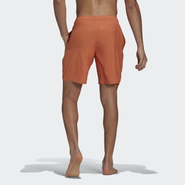 Men Swimming Orange Classic-Length Logo Swim Shorts