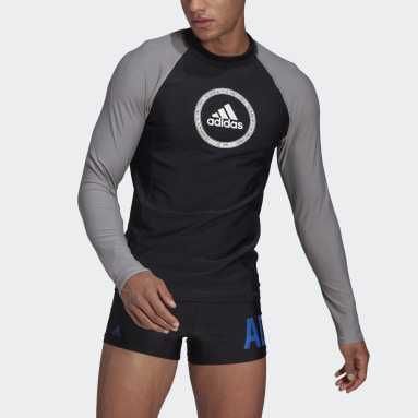 Men Swimming Black Long Sleeve Rash Guard