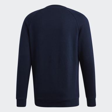 Men Originals Blue Trefoil Warm-Up Crew Sweatshirt