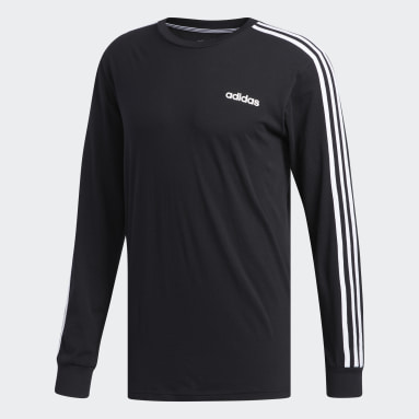 Men Essentials Black 3-Stripes Tee