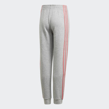 Youth 8-16 Years Gym & Training Grey 3-Stripes Tapered Leg Tracksuit Bottoms
