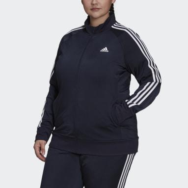 Women's Essentials Blue Primegreen Essentials Warm-Up 3-Stripes Track Jacket (Plus Size)