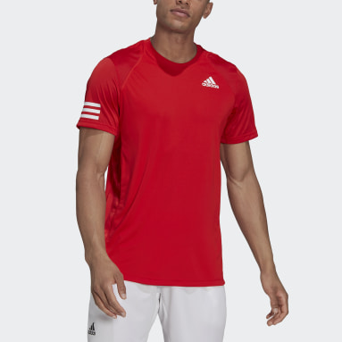 Men's Tennis Red Club Tennis 3-Stripes Tee