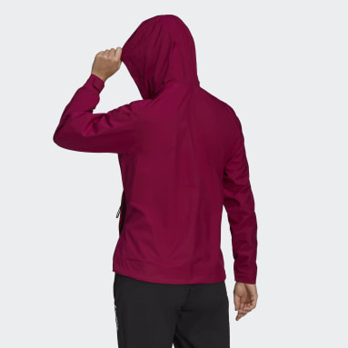 Women TERREX Burgundy Terrex Multi RAIN.RDY Primegreen Two-Layer Rain Jacket