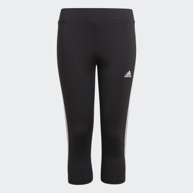 Girls Lifestyle Black adidas Designed To Move 3-Stripes 3/4 Tights