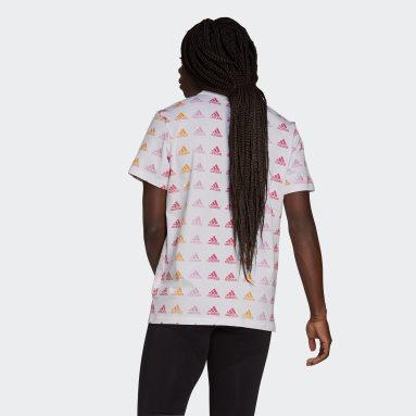 Remera Essentials Boyfriend Gradient Logo Blanco Mujer Essentials