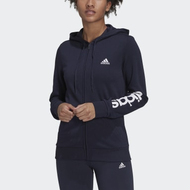 Dam Sportswear Blå Essentials Logo Full-Zip Hoodie