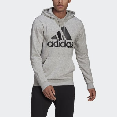 Sweat-shirt à capuche Essentials Big Logo Gris Hommes Sportswear