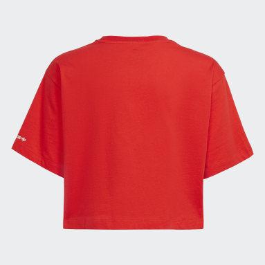 Girls Originals Red Adicolor Cropped Tee