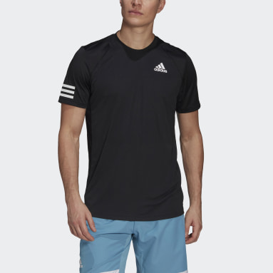 Men Tennis Black Club Tennis 3-Stripes Tee