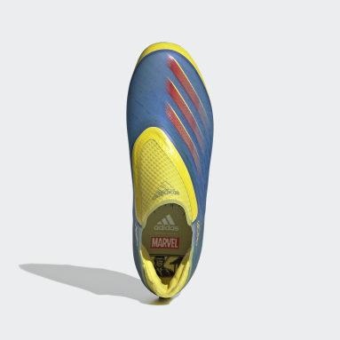 Børn Fodbold Blå Marvel X Ghosted+ Laceless Firm Ground støvler