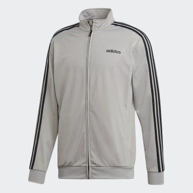 Men's Training Grey Essentials 3-Stripes Tricot Track Top