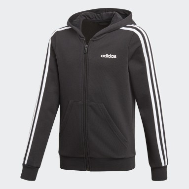 Campera Essentials 3 rayas Negro Niña Running