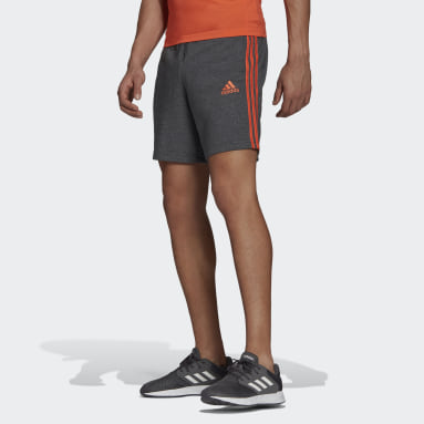 Men Sport Inspired Grey Essentials French Terry 3-Stripes Shorts