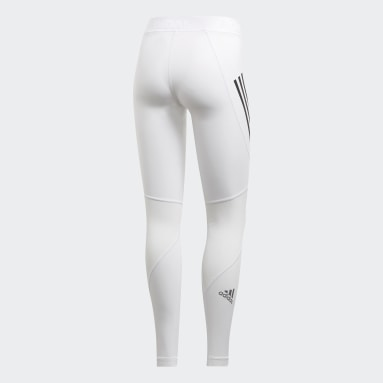 Legging Longa Alphaskin Sport Três Listras Branco Mulher Training