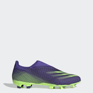 Bota de fútbol X Ghosted.3 Laceless césped natural seco Violeta Fútbol