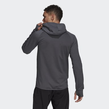 Men Training Grey adidas Designed To Move Motion Full-Zip AEROREADY Hoodie