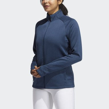 Women Golf Blue Textured Layer Jacket