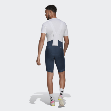 Os Calções com Alças de Ciclismo Azul Homem Ciclismo