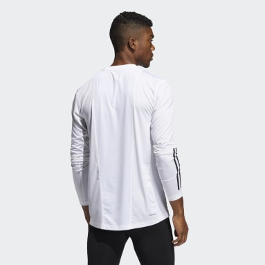 Men Cricket White Techfit 3-Stripes Fitted Long-Sleeve Top Long-Sleeve Top