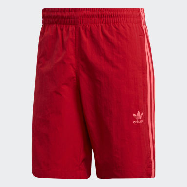 Men Originals Red 3-Stripes Swim Shorts
