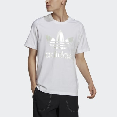 Men Originals White Trefoil Holographic T-Shirt