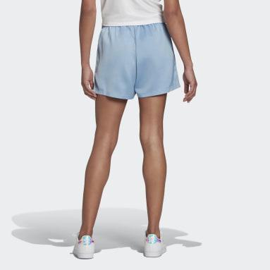 Dames Originals blauw Adicolor Classics Satin Short
