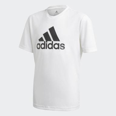 Playera adidas Designed To Move Logo Grande Blanco Niño Training