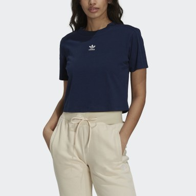Women Originals Blue Tennis Luxe Cropped Tee