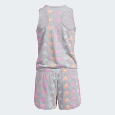Youth Training Grey Brand Love Print Rompers