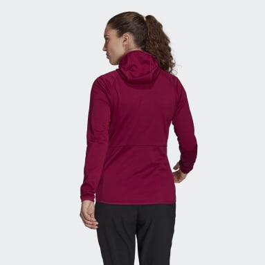 Women TERREX Burgundy Terrex Tech Fleece Lite Hooded Hiking Jacket
