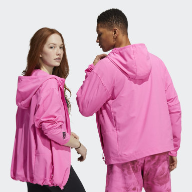 Gym & Training Pink Unite Full Zip 3-Stripes Woven Jacket (Gender Neutral)