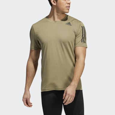 Techfit 3-Stripes Fitted Tee Zielony