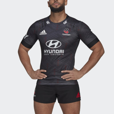 Men Rugby Black Crusaders Rugby Training Replica Jersey