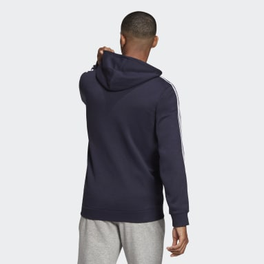 Men Sport Inspired Blue Essentials Fleece 3-Stripes Full-Zip Hoodie