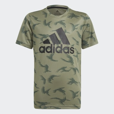 Youth 8-16 Years Sportswear Green adidas Designed To Move Camouflage T-Shirt