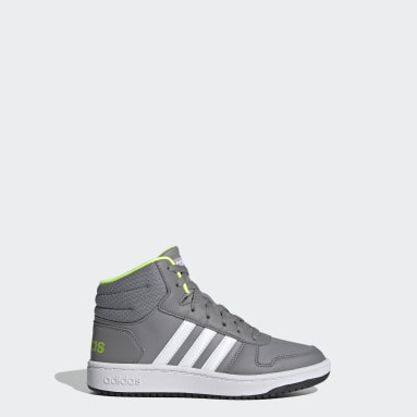 Kids Essentials Grey Hoops 2.0 Mid Shoes