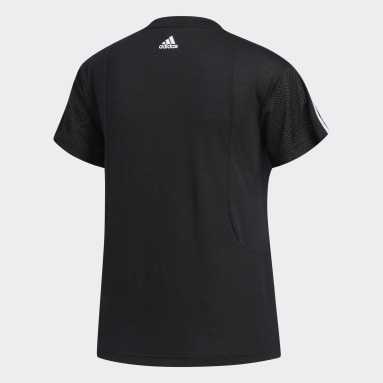 Women Gym & Training Black 3-Stripes Tee