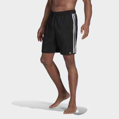 Men's Swim Black Classic-Length 3-Stripes Swim Shorts