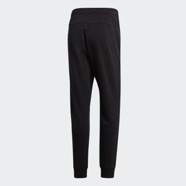Heren Sportswear Zwart Essentials Plain Tapered Cuffed Broek
