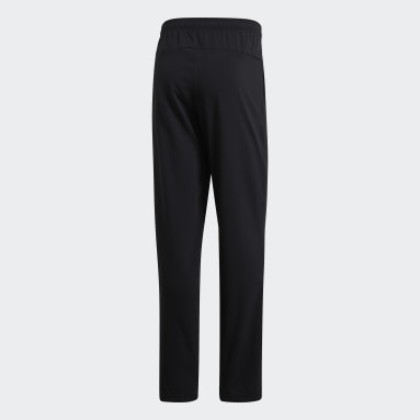 Men Gym & Training Black Essentials Plain Open Hem Stanford Trousers