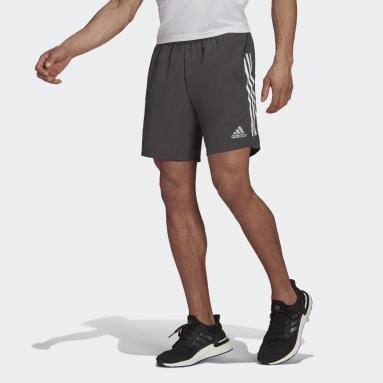 Men Running Grey Own The Run 3-Stripes Shorts